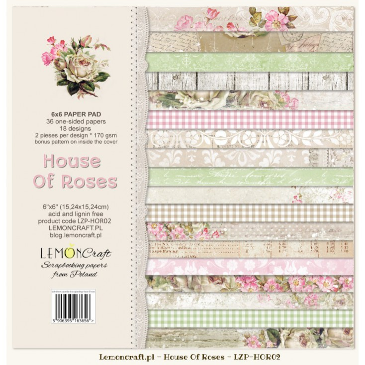 Pad of scrapbooking papers - House OF Roses 6x6