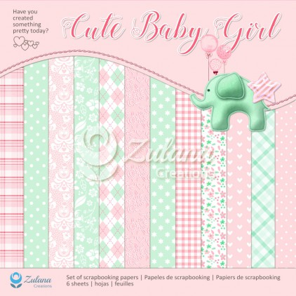Set of scrapbooking papers 30x30cm - Zulana Creations - Cute Baby Girl