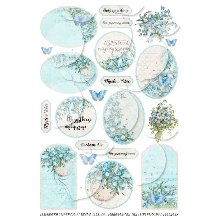 Scrapbooking Digital Collage Sheet - Forget Me Not 001