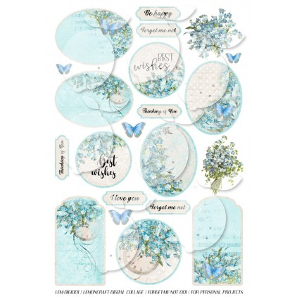 Scrapbooking Digital Collage Sheet - Forget Me Not 001 - English version