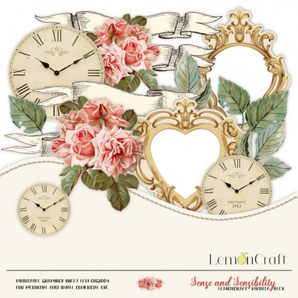 Scrapbooking digital collage sheet  - Sense and sensibility 04 - coral roses