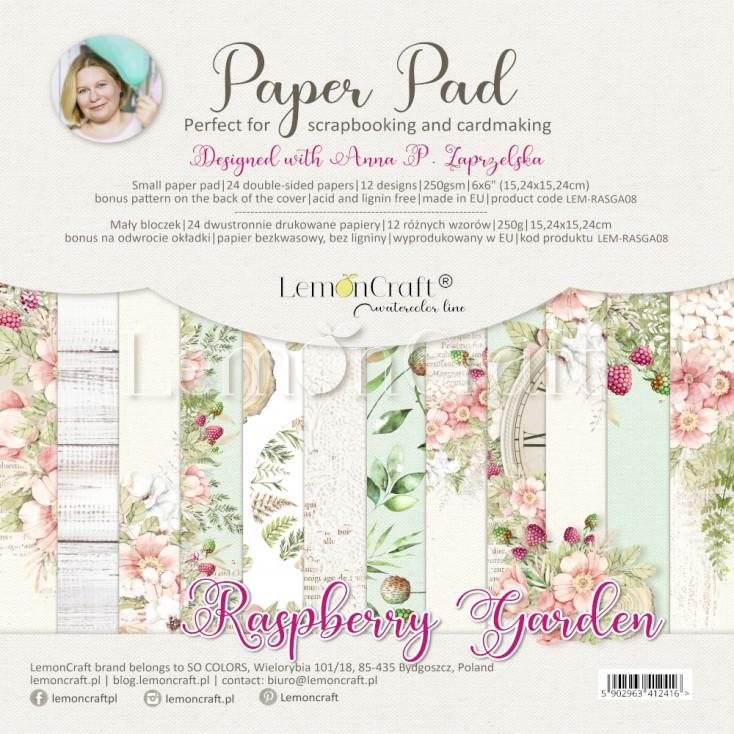 Raspberry Garden - Bloczek papierów do scrapbookingu 15x15cm - Lemoncraft