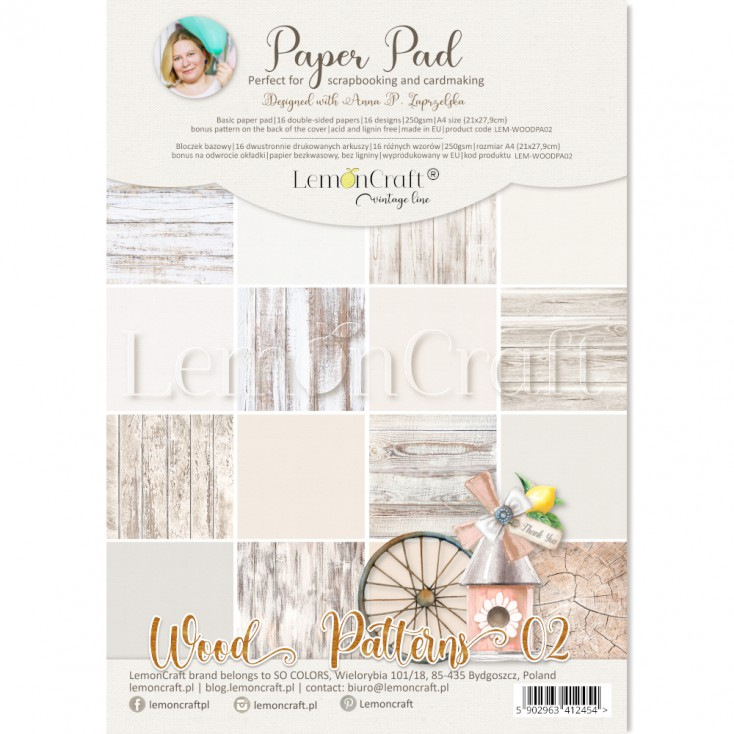 Wood Patterns 02 - Bloczek papierów do scrapbookingu 21x29cm - Lemoncraft