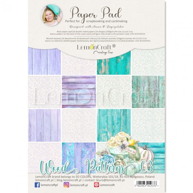 Wood Patterns 03 - Bloczek papierów do scrapbookingu 21x29cm - Lemoncraft
