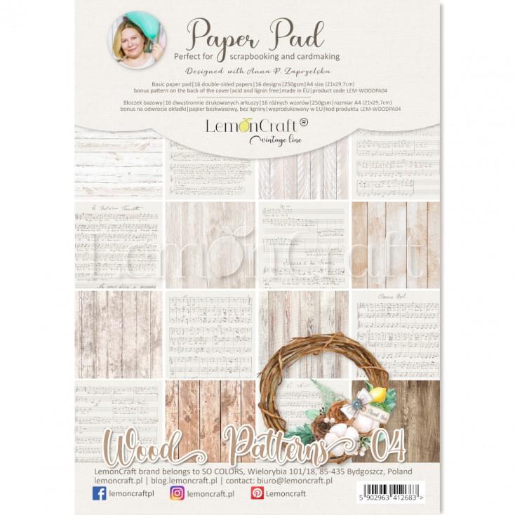Wood Patterns 04 - Bloczek papierów do scrapbookingu 21x29cm - Lemoncraft