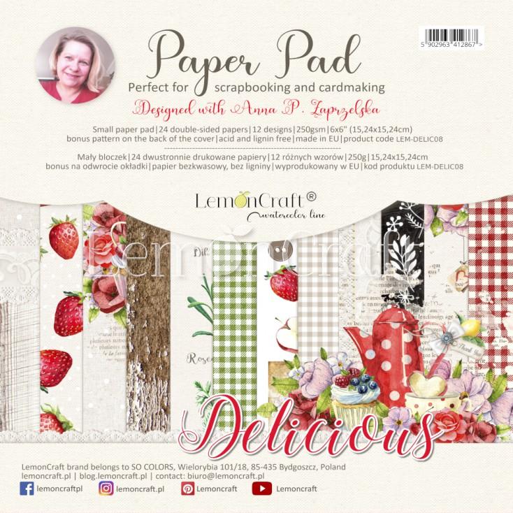 Delicious - Pad scrapbooking papers 15x15cm - Lemoncraft