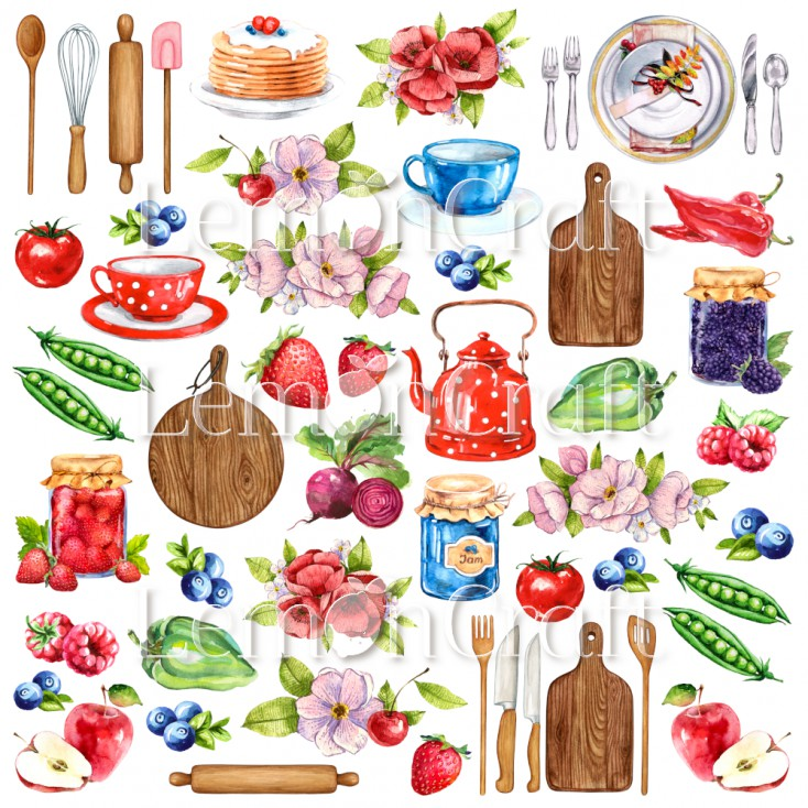 Delicious cutouts 01 - A sheet of pictures for cutting - Lemoncraft