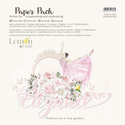 Elegance - Set of scrapbooking papers 30x30cm - Lemoncraft