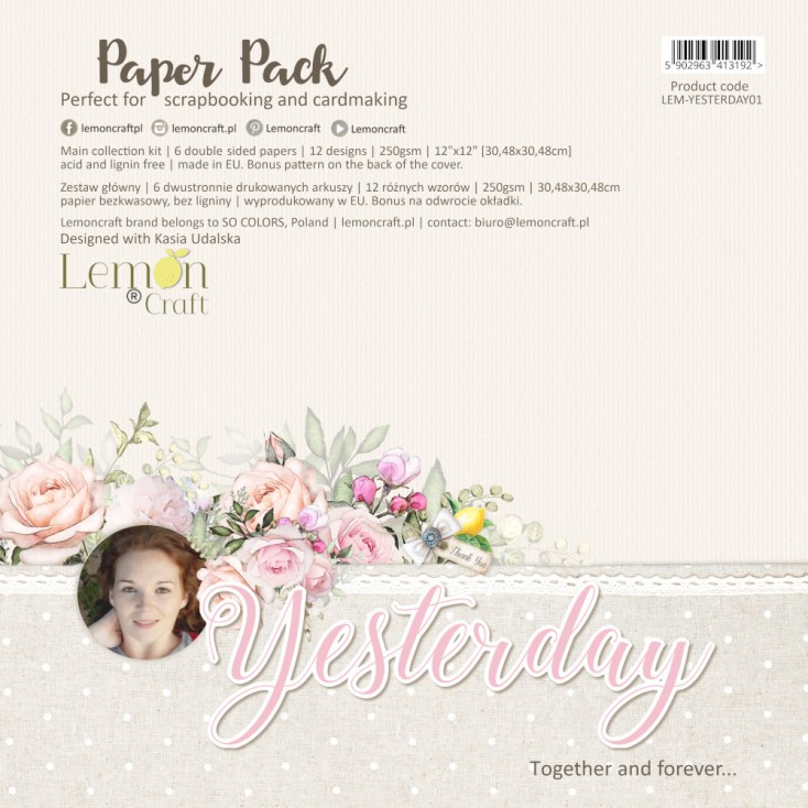 Yesterday - Set of scrapbooking papers 30x30cm - Lemoncraft