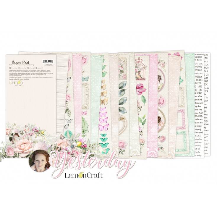Yesterday Elements for fussy cutting - Pad scrapbooking papers 15,24x30,5cm - Lemoncraft