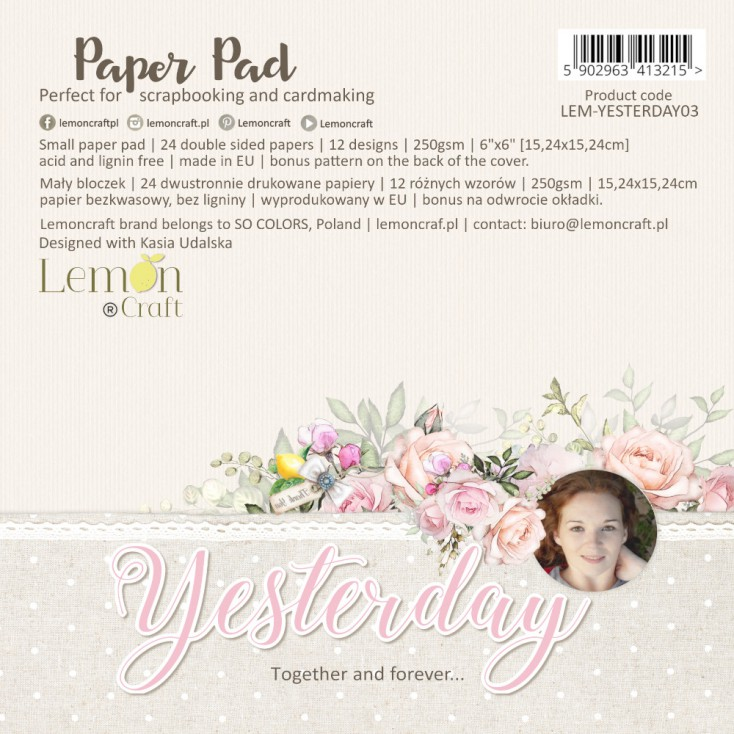 Yesterday - Pad scrapbooking papers 15x15cm - Lemoncraft