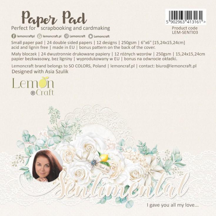 Sentimental - Pad scrapbooking papers 15x15cm - Lemoncraft