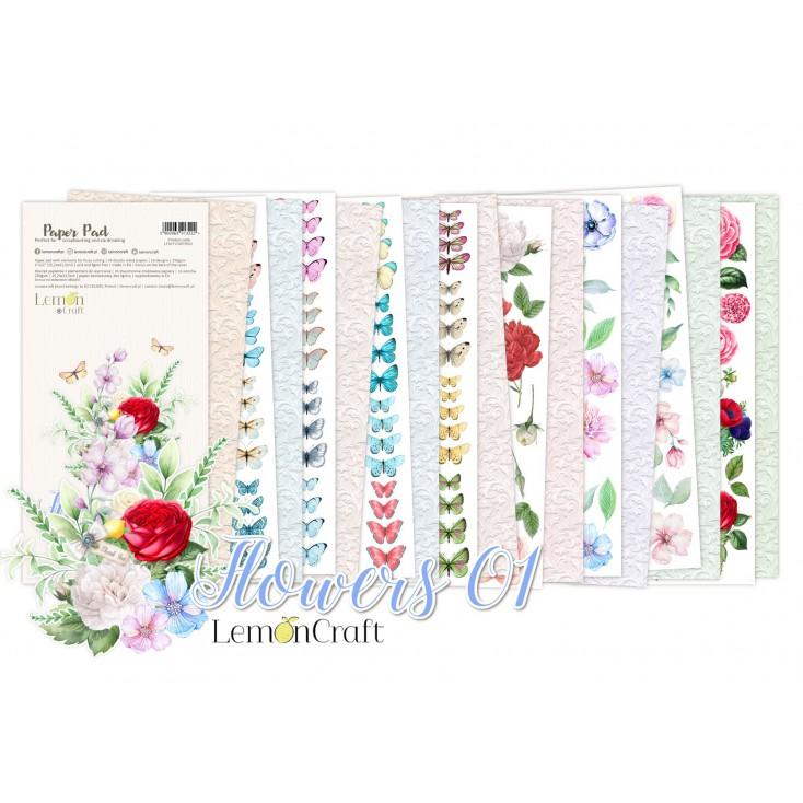 Flowers 01 Elementy do wycinania - Bloczek papierów do scrapbookingu 15,24x30,5cm - Lemoncraft