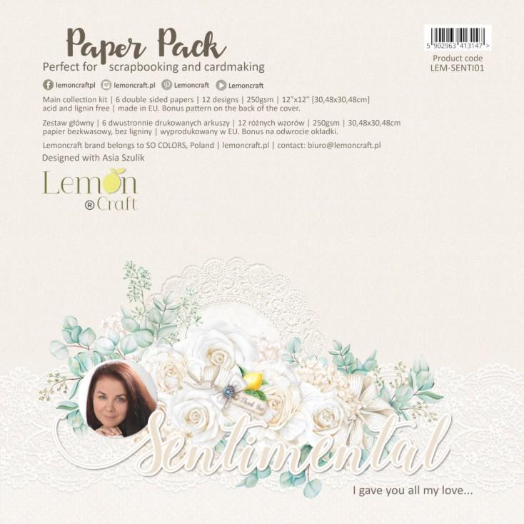 Sentimental - Zestaw papierów do scrapbookingu 30x30cm - Lemoncraft