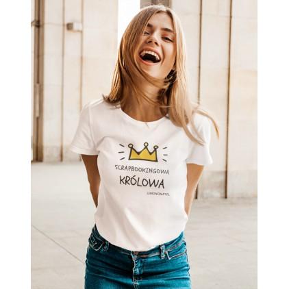 Scrapbookingowa królowa - damska koszulka Lemoncraft z nadrukiem - t-shirt - biała - rozmiar XL