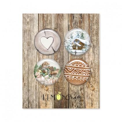 Natural Christmas - Zestaw samoprzylepnych ozdób / buttonów - Lemoncraft