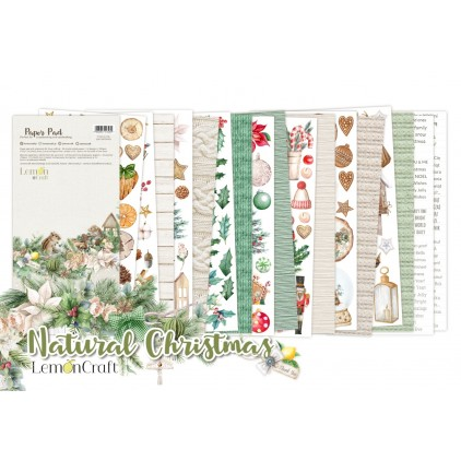 Natural Christmas Elements for fussy cutting - Pad scrapbooking papers 15,24x30,5cm - Lemoncraft
