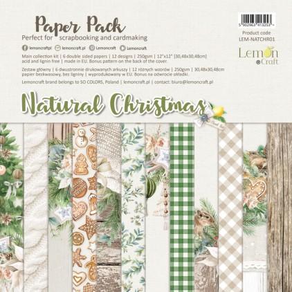 Natural Christmas - Zestaw papierów do scrapbookingu 30x30cm - Lemoncraft