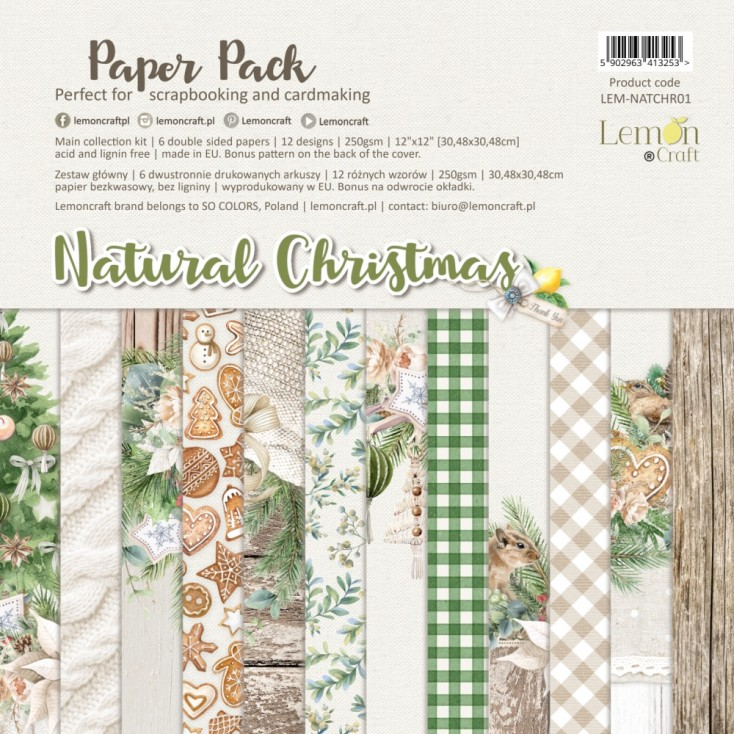 Natural Christmas - Set of scrapbooking papers 30x30cm - Lemoncraft