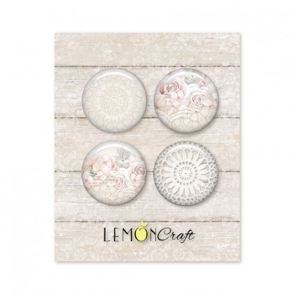 Linen Story - Zestaw samoprzylepnych ozdób / buttonów - Lemoncraft