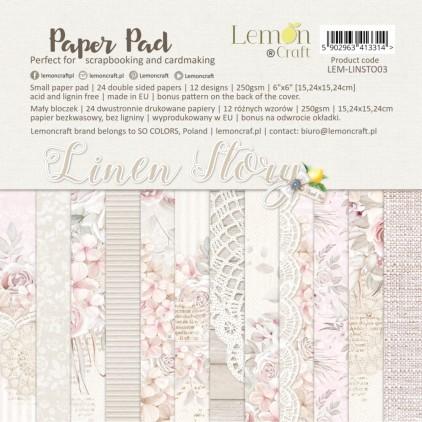 Linen Story - Bloczek papierów do scrapbookingu 15x15cm - Lemoncraft