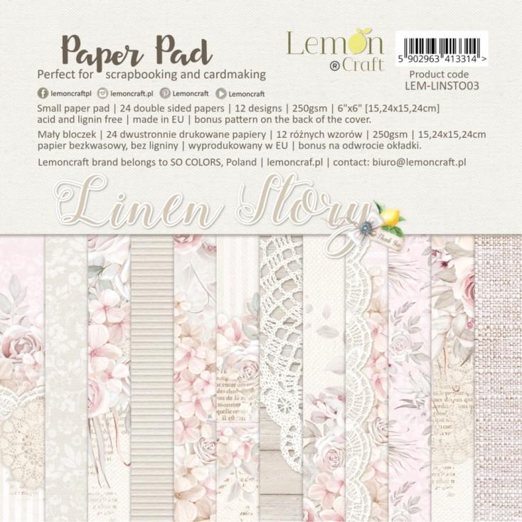 Linen Story - Pad scrapbooking papers 15x15cm - Lemoncraft