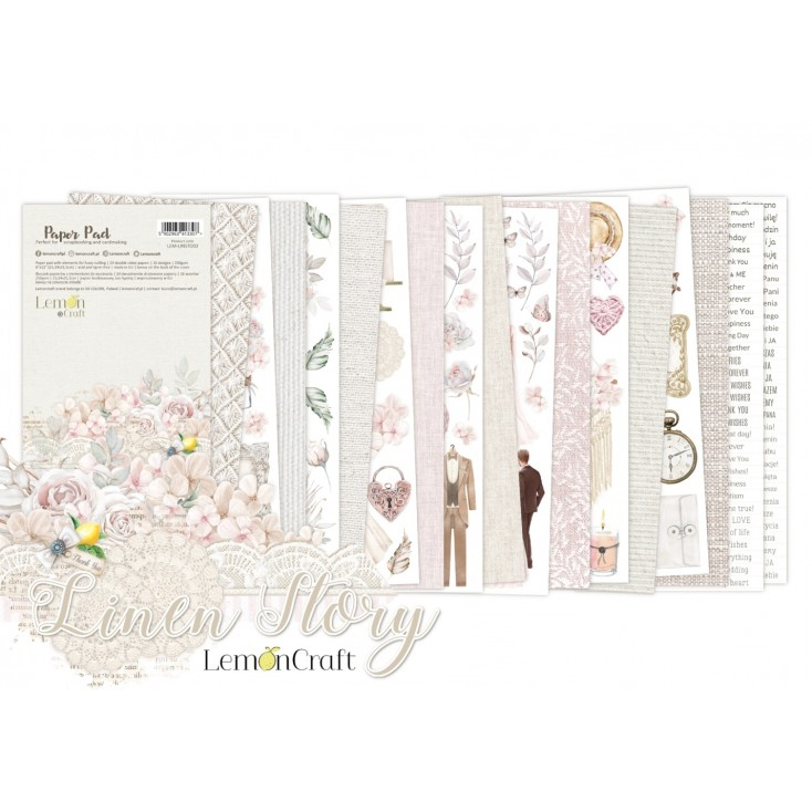 Linen Story Elements for fussy cutting - Pad scrapbooking papers 15,24x30,5cm - Lemoncraft