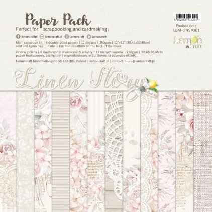 Linen Story - Zestaw papierów do scrapbookingu 30x30cm - Lemoncraft